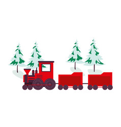 Trees pines with snow and train vector