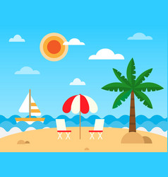 Tropic beach landscape with beach waves umbrella vector
