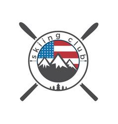 usa flag and mounting skiing logo design vector image