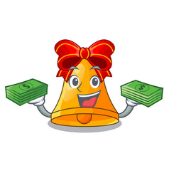 With money cartoon christmas bells for christmas vector