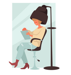 Woman under hair dryer sitting and reading vector