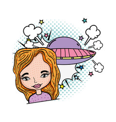 woman with ufo pop art style vector image