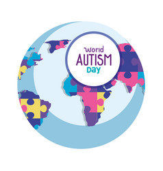 world autism day with planet and puzzle vector image