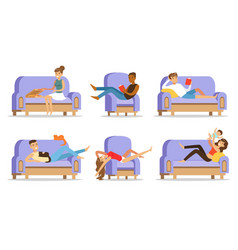 young people relax on couch at home vector image