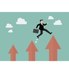Businessman jumping up to a higher arrow vector image vector image