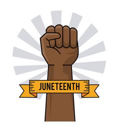 juneteenth day hand fist raise ribbon image vector image
