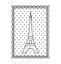 monochrome contour frame of eiffel tower with vector image vector image