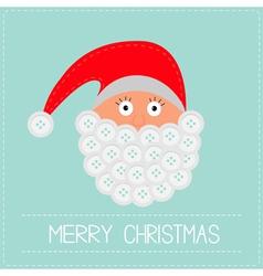 Santa Claus face with button beard Merry Christmas vector image vector image