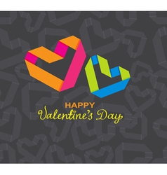 Valentine card with origami heart vector image vector image
