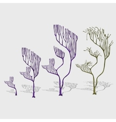 Whimsical trees corals with shade decoration vector image