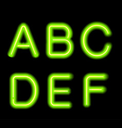 glowing neon alphabet vector image