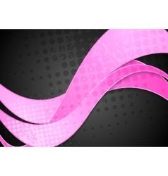 Grunge corporate pink waves on black vector image vector image