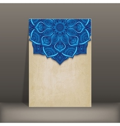 grunge paper card with blue floral circular vector image vector image