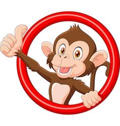 Cartoon funny monkey giving thumb up vector image vector image