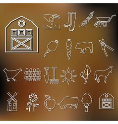farm outline icons vector image vector image
