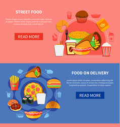 Fast food 2 flat banners webpage vector