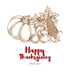 Happy Thanksgiving greeting with autumn harvest vector image vector image