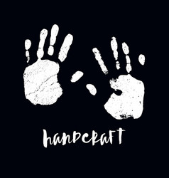 isolated black and white handprint vector image vector image