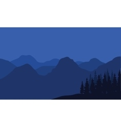 Mountain silhouette at night vector image