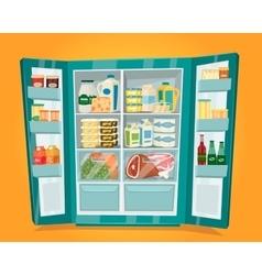 Refrigerator Full of Food in Flat Design vector image