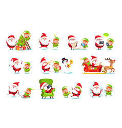 santa claus activities set vector image vector image