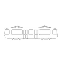tram flat icon and logo outline vector image