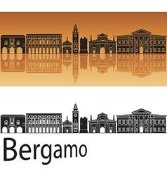 Bergamo skyline in orange background vector image