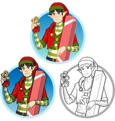 Christmas elf Asian boy with gift set vector image vector image