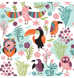 seamless pattern with exotic birds vector image vector image