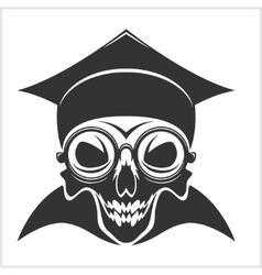 skull academic in graduation cap vector image