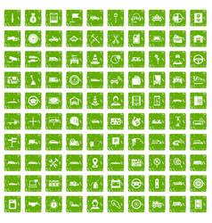 100 auto icons set grunge green vector image