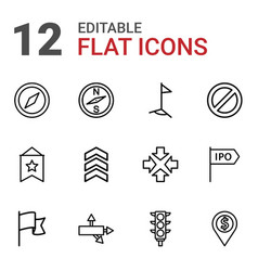 12 direction icons vector