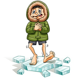 A boy getting a cold feet vector image