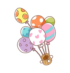 A floating balloon ship vector