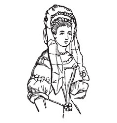 a womans head dress vintage engraving vector image