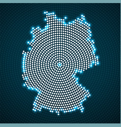 abstract germany map of glowing radial dots vector image