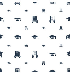 Academy icons pattern seamless white background vector