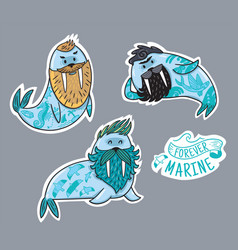 animals patch collection of hipster walruses with vector image