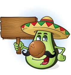 Avocado cartoon character a holding wooden sign vector