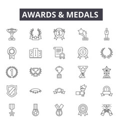 awards medals line icons for web and mobile vector image