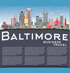 baltimore skyline with gray buildings blue sky vector image