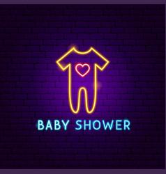 Bashower neon label vector