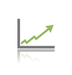 benefits chart icon with reflection on white vector image