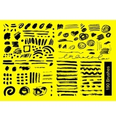 big set of 190 objects brushes vector image