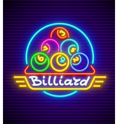 billiards neon sign vector image