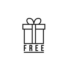 black thin line free gift logo vector image