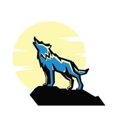 black wolf howl emblem vector image