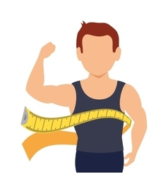 body male with tape measure vector image