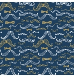 Bow Tie and Moustache Seamless Pattern vector image