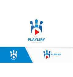 bowling and play button logo combination vector image